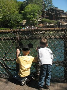 On Raft, Approaching Tom Sawyer's Island...Pirates' Lair